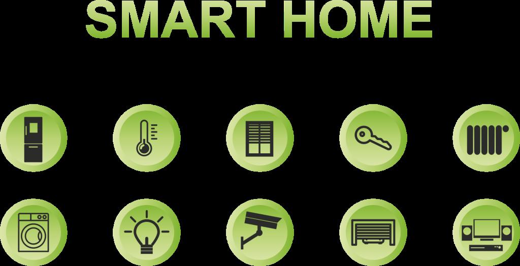 smart home, green, buttons